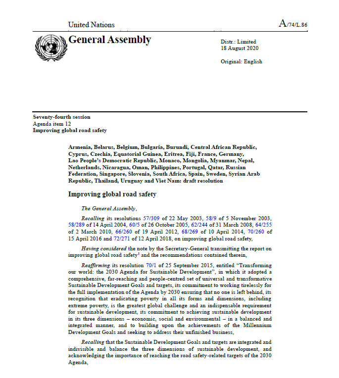 Screenshot of the UN GA resolution document